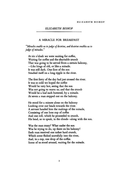 elizabeth bishop a miracle for breakfast books a miracle for breakfast by elizabeth bishop poetry magazine