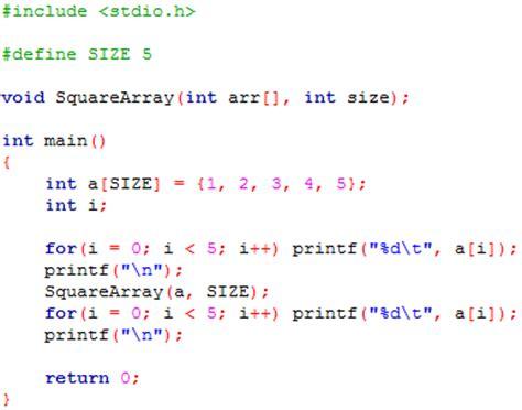 pattern exles in c language beginning c programming tutorial 8 4 passing arrays to
