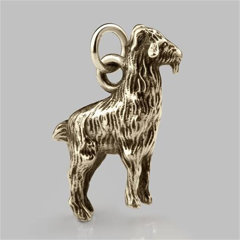 goat charm in solid sterling silver gold platinum