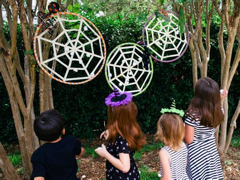 make your own halloween decorations gardening with children how to make a kids halloween spiderweb game diy