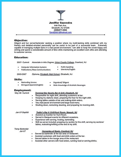 bartending resume exles impressive bartender resume sle that brings you to a