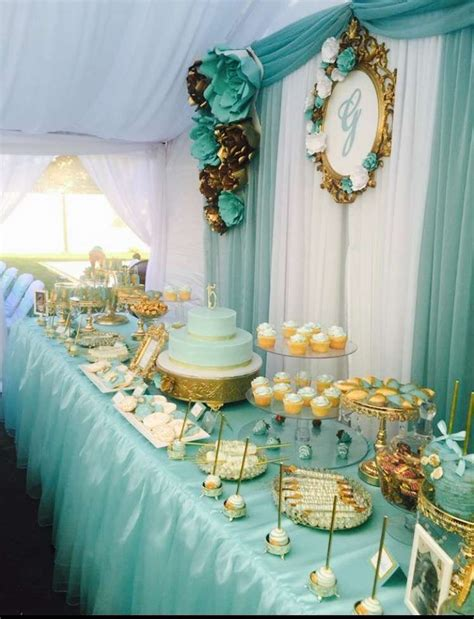 tiffany gold quincea 241 era party ideas dessert table