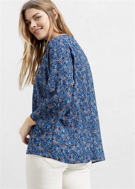 43073 Blue Flower Blouse violeta by mango floral print blouse in blue lyst