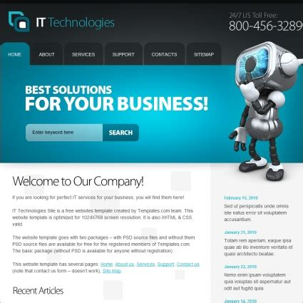 it company templates it technologies template free website templates in css