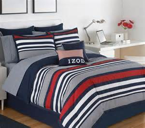 Izod Comforter Queen 4 Piece Blue Striped Bedding Set Red White Designer