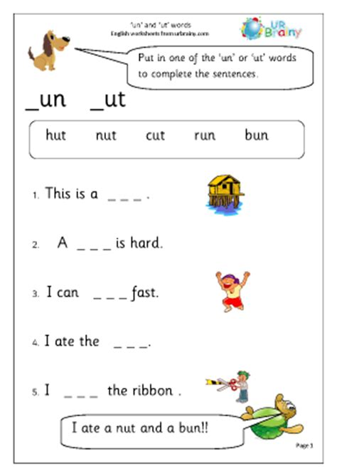 new year activities key stage 1 more on un and ut words worksheet for key stage 1