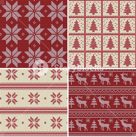 nordic christmas pattern vector set of traditional christmas knitted scandinavian seamless