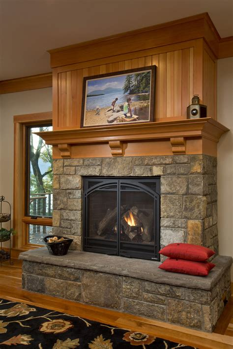Fireplaces In Bolton by Rustic Fireplace At Lake House Teakwood Builders