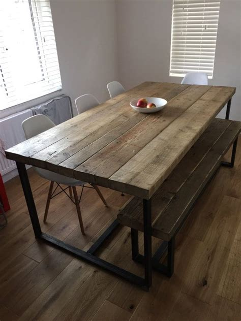 salvaged wood placemats industrial dining room reclaimed industrial chic 6 8 seater solid wood and metal