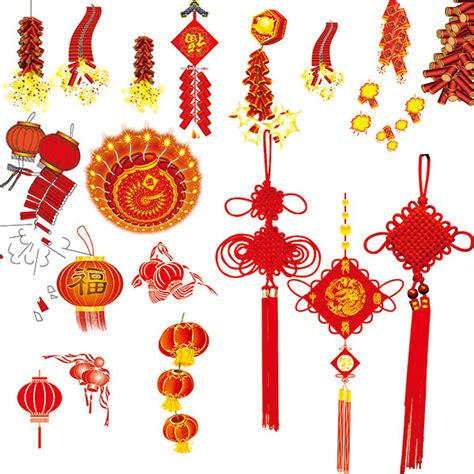 new year knots knot firecrackers lanterns psd