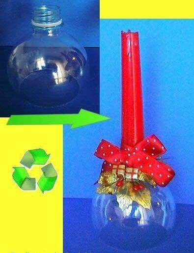 candelabros en botellas plasticas candelabro navide 241 o hecho con base pl 225 stica navidad