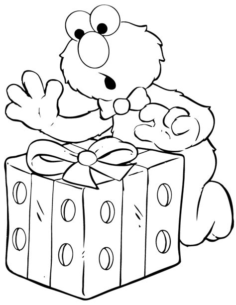 elmo coloring pages happy birthday elmo opens birthday present coloring page h m coloring