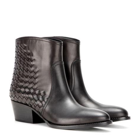 Bottega Venetas Intrecciato Woven Leather Boots by Bottega Veneta Intrecciato Leather Ankle Boots In Brown Lyst