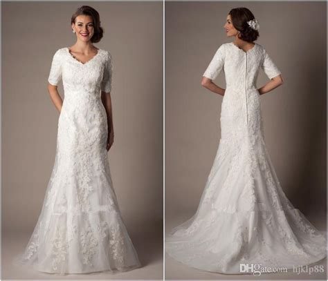 modest lace wedding dresses with sleeves modest custom made a line wedding dresses long bridal gown