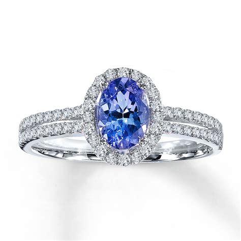 jared tanzanite ring oval cut with diamonds 14k white gold