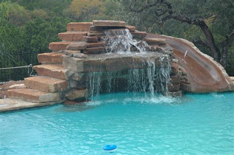 pool designs with slides custom pools
