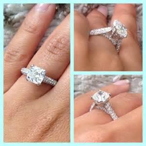 Carat cushion cut micro pave engagement ring gorgeous wedding
