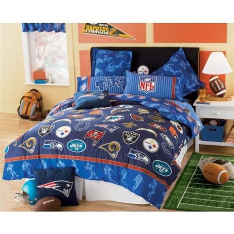 nfl comforters sets buy cheap nfl football logo 5 piece twin bedding set