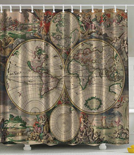 character bathroom sets shower curtain antiques old world map globe art lounge