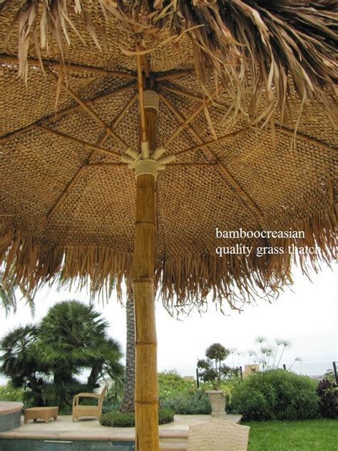 Bamboo Patio Umbrella 9 Ft Asian Thatch Umbrella Solid Bamboo Frame Palapa Set 14 Ft Tropical Patio Yard Garden