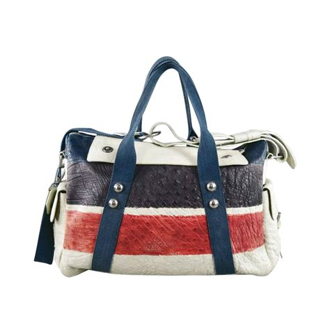 Guess Who The Dries Noten Purse by Dries Noten Ivory Multi Color Stripe Ostrich Bag At