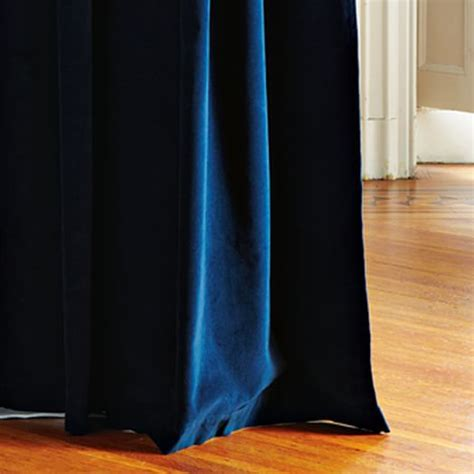 Blue Velour Curtains Velvet Grommet Curtain Regal Blue West Elm