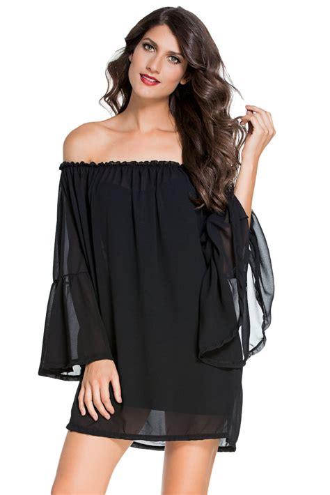 cheap wholesale black ethereal chiffon mini dress
