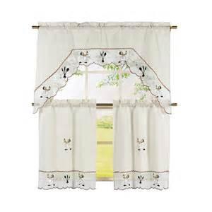 Embroidered Kitchen Curtains Window Elements Wine Chef Embroidered 3 Kitchen Curtain Tier And Valance Set Ymk004386