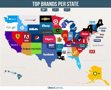 Infographic This Map Shows The Most Valuable Brand For Each Country by This Map Of The U S Shows The Most Googled Brand In Each State Adweek