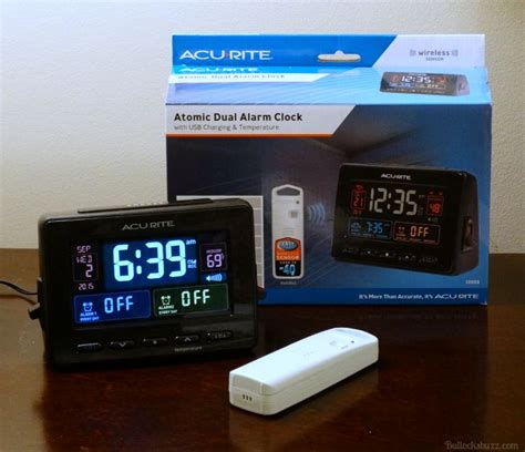 be right on time with acurite atomic clock with dual alarm usb charging and temperature