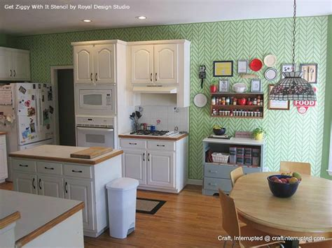 kitchen feature wall paint ideas get ziggy with it stencil on kitchen feature wall paint pattern