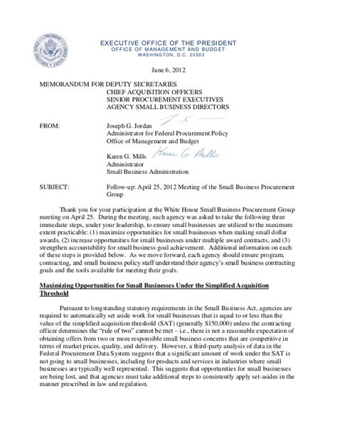 Memo Template To Ceo Executive Office Of The President Obama June 6 2012 Memo