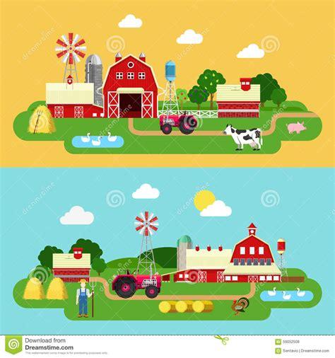 Flat Vector Farming Agriculture Banner: Farm Building