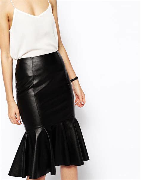 asos peplum hem pencil skirt in leather look in black lyst