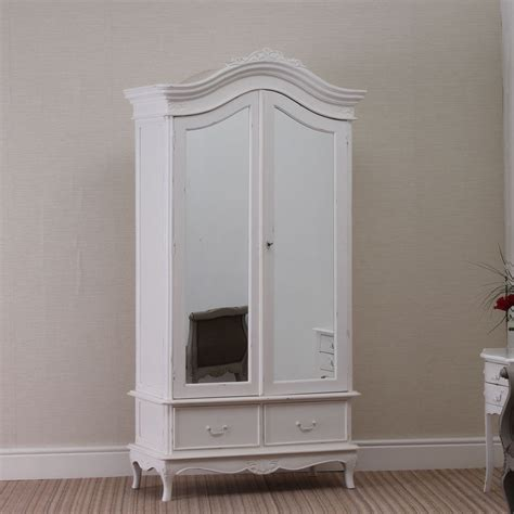 Distressed White Armoire by Shabby Chic 2 Door Rococo Wardrobe Armoire White