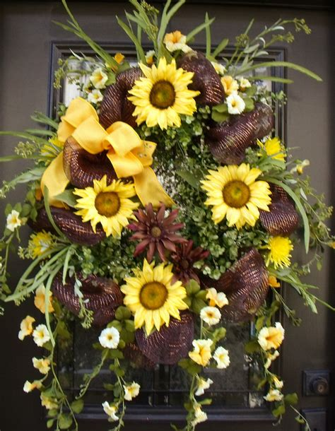 Sunflower Door Wreath by Sunflower Wreath Summer Wreath Wreaths Door Wreath