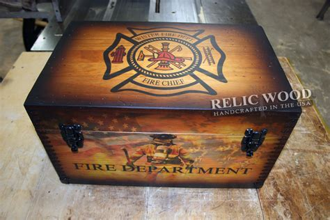 Personalized Fire Department Gifts   Wooden Keepsake Box