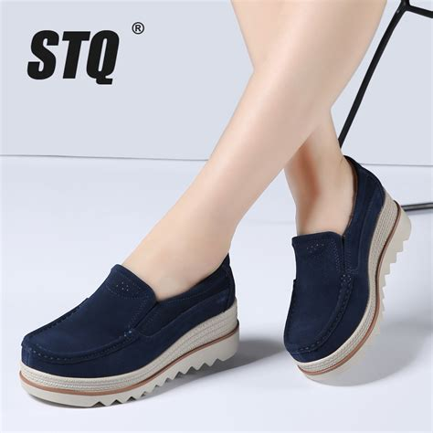Flat Shoes 2018 Aamr stq 2018 flats shoes platform sneakers shoes leather suede casual shoes slip on