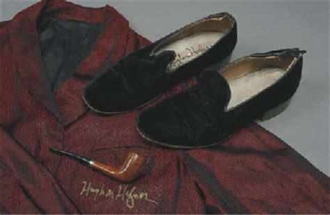 hugh hefner slippers hugh hefner signed robe slippers and pipe christie s