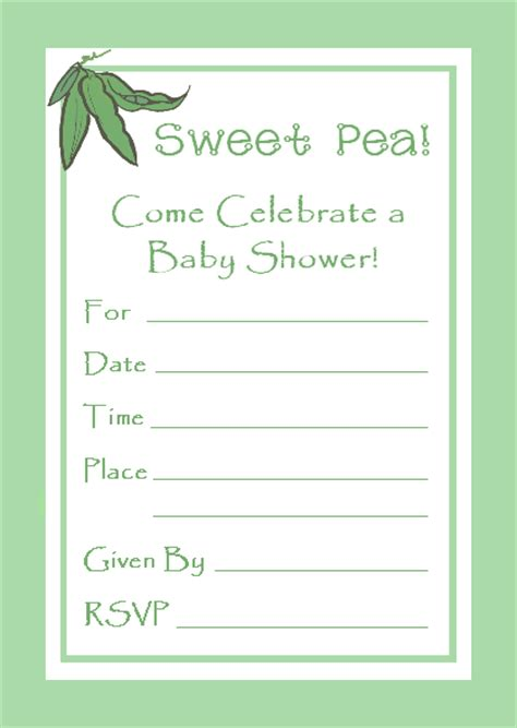 Write In Baby Shower Invitations by Free Sweet Pea Baby Shower Invitation