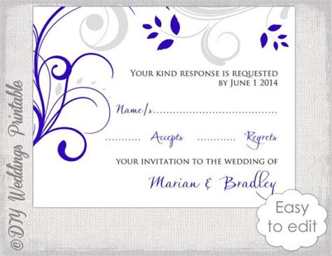 response card template diy royal blue silver gray