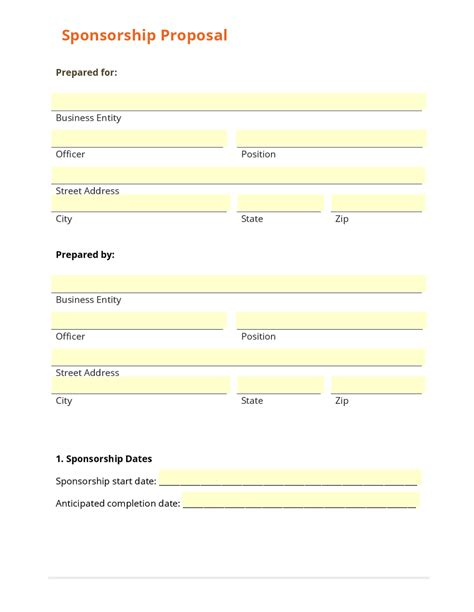 sponsor forms template business form template gallery