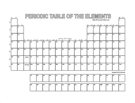 printable periodic table empty blank periodic table worksheet worksheets tutsstar