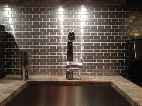 stainless steel kitchen backsplash tiles go stainless steel with your backsplash subway tile outlet