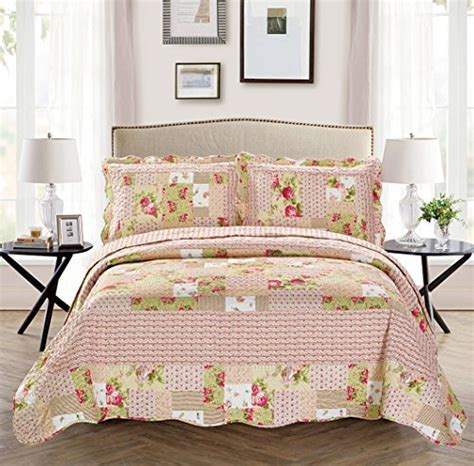 Bed Cover Merk California Fancy Collection 3pc Bedspread Bed Cover Pink Beige Green