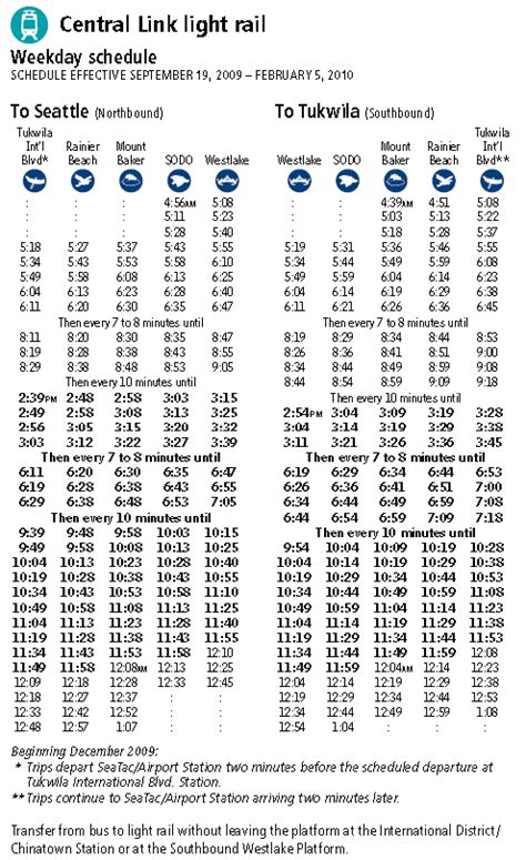 Seattle Link Light Rail Schedule Sept 19 2009 To Feb 5
