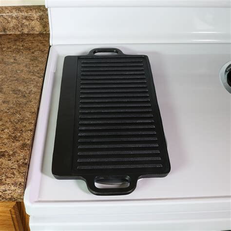 ls plus open box coupon sunnydaze cast iron reversible grill griddle pre seasoned