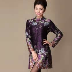 Print chinese tangzhuang inspired wrinkled silk dress modern qipao