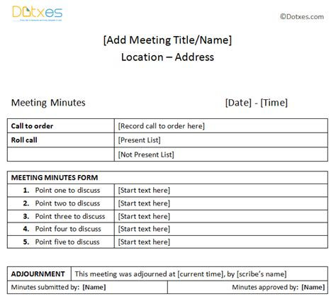 meeting minutes sle plain table format dotxes