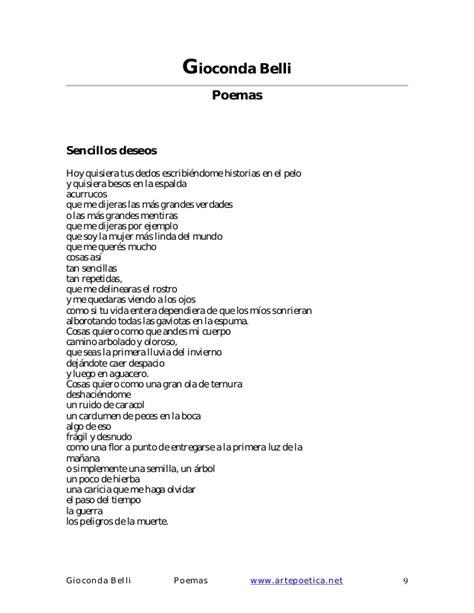 poemas sencillos gioconda belli poesia